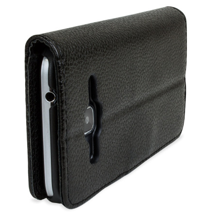 olixar leather style samsung galaxy core prime flip case black