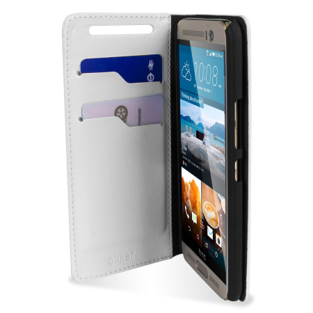 Olixar Leren-Stijl HTC One M9 Plus Wallet Stand Case - Wit