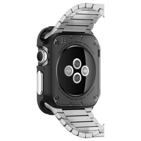 coque apple watch 3 2 1 spigen rugged armor 42mm noire. Black Bedroom Furniture Sets. Home Design Ideas