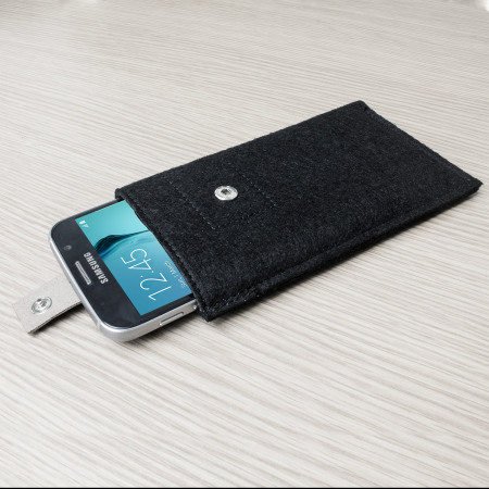 Olixar Wool Felt Pouch for Galaxy S6 / S6 Edge - Black