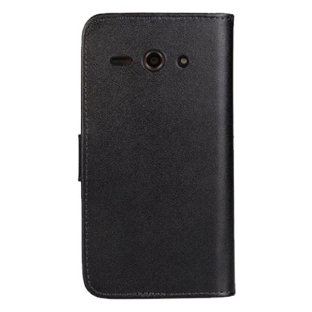 Encase Leather Style Huawei Ascend Y530 Wallet Case - Black