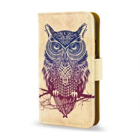 Create and Case Samsung Galaxy S6 Edge Book Case - Warrior Owl