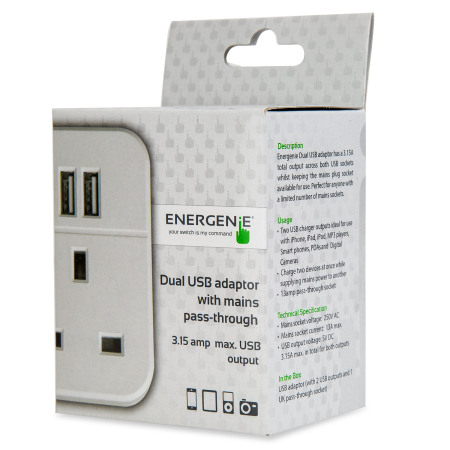 Energenie Universal 3.1A Dual USB Mains Charger - White