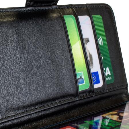 Olixar Premium Genuine Leather Microsoft Lumia 640 Wallet Case - Black