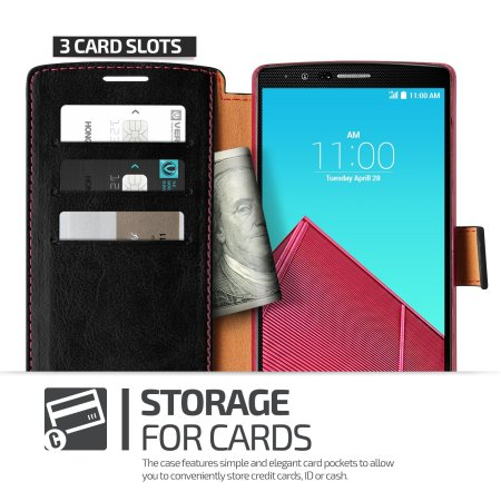 Verus Dandy LG G4 Leather-Style Wallet Case - Black