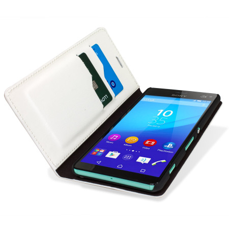 Olixar Leather-Style Sony Xperia C4 Wallet Stand Case - White
