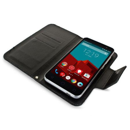 Encase Leather-Style Vodafone Smart Prime 6 Wallet Case - Black