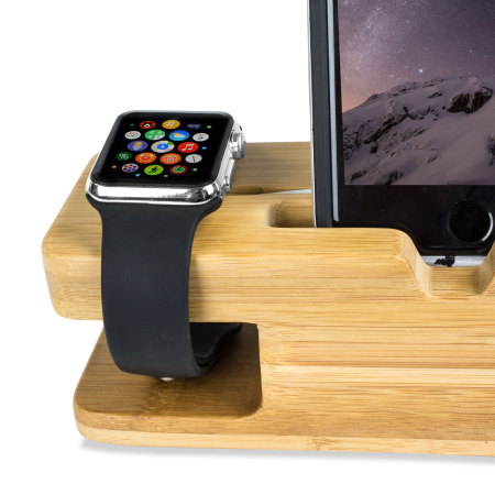 Olixar Charging Apple Watch Series 2 / 1 Bamboo Stand with iPhone Dock
