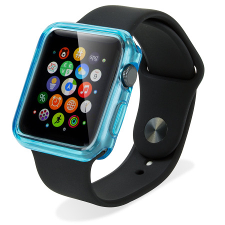 coque apple watch 3 2 1 42mm soft protective bleu transparent. Black Bedroom Furniture Sets. Home Design Ideas