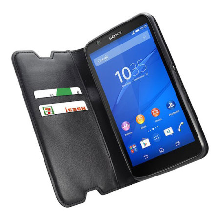 Metal-Slim Sony Leather-Style Sony Xperia E4g Wallet Case - Black