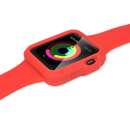 Olixar Soft Silicone Apple Watch Sport Strap and Case (42mm) - Red