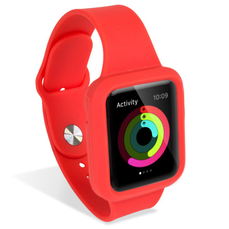 Olixar Silicone Apple Watch 2 / 1 Sport Strap with Case - 38mm - Red