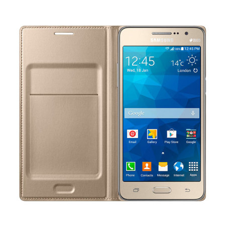 lowest price 80f81 50031 Official Samsung Galaxy Grand Prime Flip Wallet Cover - Gold