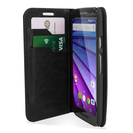 Olixar Leather-Style Motorola Moto G 3rd Gen Wallet Case - Black