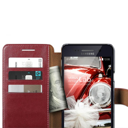 Verus Dandy Leather-Style Samsung Galaxy Note 5 Wallet Case - Wine