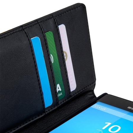 Olixar Premium Genuine Leather Sony Xperia M4 Aqua Wallet Case - Black