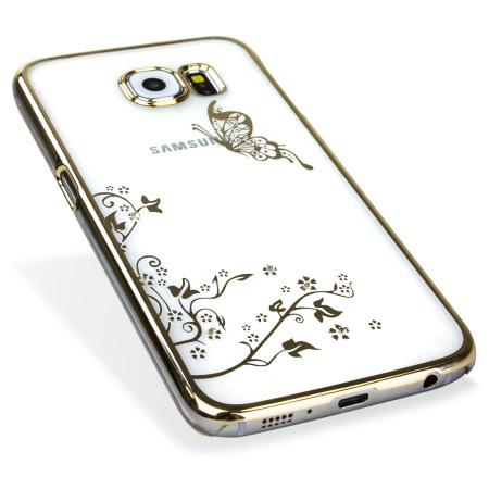 meet 8d0b6 fc4f0 Olixar Butterfly Samsung Galaxy S6 Shell Case - Gold / Clear