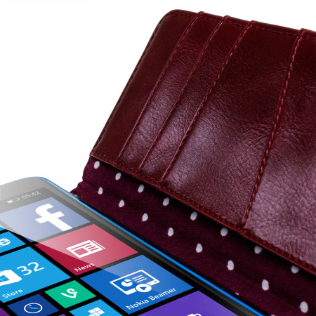 Olixar Leather-Style Microsoft Lumia 640 Clutch Purse Case - Polka Red