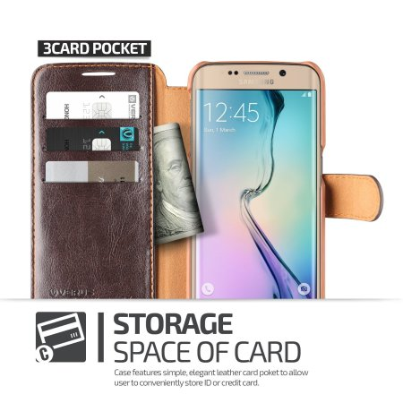 Verus Dandy Leather-Style Samsung Galaxy S6 Edge Wallet Case - Brown