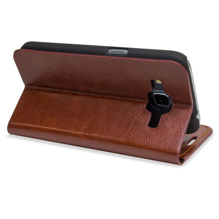 finest selection 61600 91f8d Olixar Leather-Style Samsung Galaxy Core Prime Wallet Case - Brown
