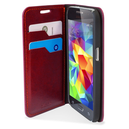 big sale a7599 2e951 Olixar Leather-Style Samsung Galaxy Core Prime Wallet Case - Red