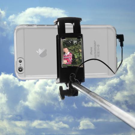 olixar pocketsize iphone selfie stick with mirror black mobilefun india. Black Bedroom Furniture Sets. Home Design Ideas