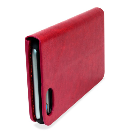 Olixar leather style iphone 6s 6 wallet stand case red