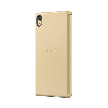 sony xperia z5 premium gold. official sony xperia z5 premium style cover smart window case - gold r