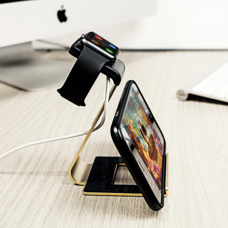Aluminium Apple Watch 2 / 1 Stand with iPhone Holder - Gold