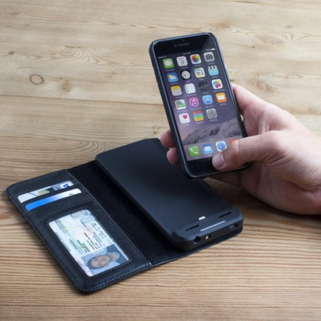 Case-Mate Leather Wallet iPhone 6S/6 Charging Case - Black