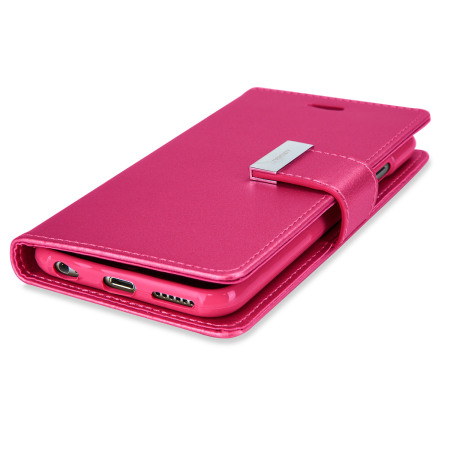 mercury rich diary iphone 6s 6 premium wallet case hot pink
