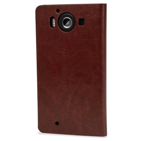 olixar leather style microsoft lumia 950 wallet case brown guy