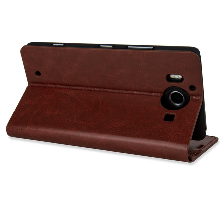 Time olixar leather style microsoft lumia 950 wallet case brown the