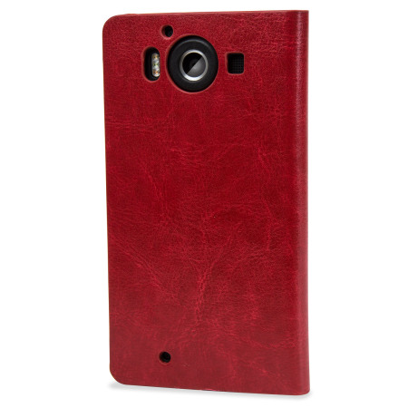 zuk zte small olixar leather style microsoft lumia 950 wallet case red