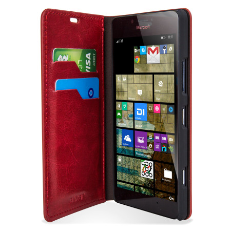 olixar leather style microsoft lumia 950 wallet case red phone
