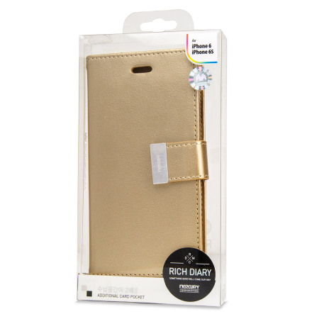Mercury Rich Diary iPhone 6S / 6 Premium Wallet Case - Gold