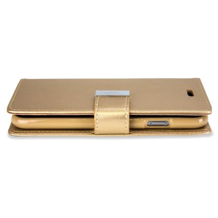 mercury rich diary iphone 6s 6 premium wallet case gold