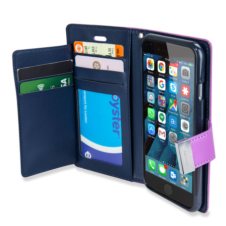mercury rich diary iphone 6s / 6 premium wallet case - purple