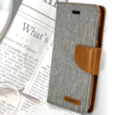 Mercury Canvas Diary iPhone 6S / 6 Wallet Case - Grey / Camel