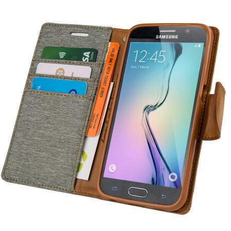 Mercury Canvas Diary Samsung Galaxy S6 Wallet Case - Grey / Camel