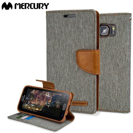 Mercury canvas diary samsung galaxy s6 wallet case green/camel