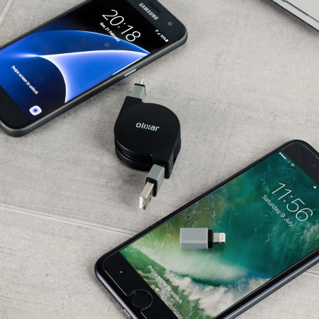Olixar Retractable Dual Lightning / Micro USB Charge & Sync Cable