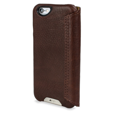 Vaja Wallet Agenda iPhone 6S / 6 Premium Leather Case - Dark Brown