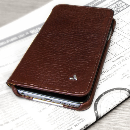 vaja wallet agenda iphone 6/6s plus premium leather case brown