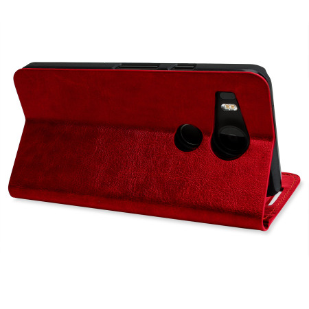 Olixar Leather-Style Nexus 5X Wallet Stand Case - Red