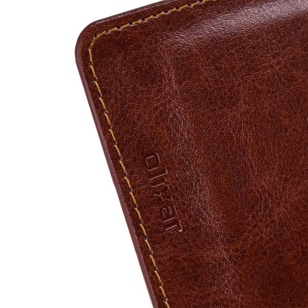 Olixar Leather-Style Nexus 6P Wallet Stand Case - Brown