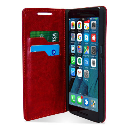 reputable site 5d8f0 4686b Olixar Leather-Style Nexus 6P Wallet Stand Case - Red