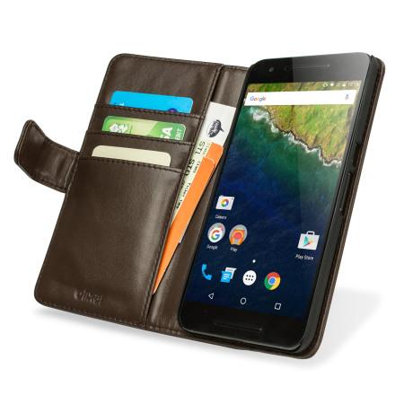 super popular cfbdf 678b2 Olixar Premium Genuine Leather Nexus 6P Wallet Case - Brown