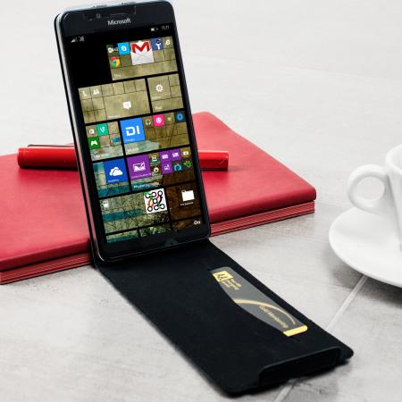 Mozo Microsoft Lumia 950 Genuine Leather Flip Cover - Black