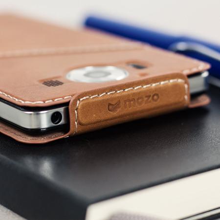 Mozo Microsoft Lumia 950 Genuine Leather Flip Cover - Cognac